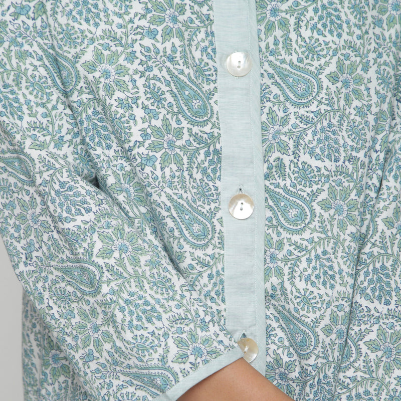 Front Detail of a Model wearing Reversible Green Button-Down Outerwear