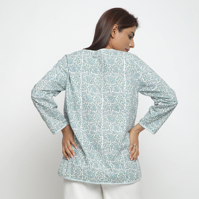 Back View of a Model wearing Reversible Green Button-Down Outerwear