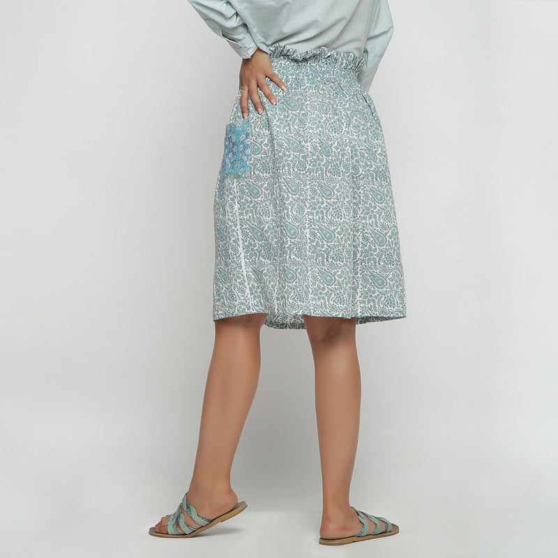Back View of a Model wearing Sage Green Hand block Print Gathered Skirt