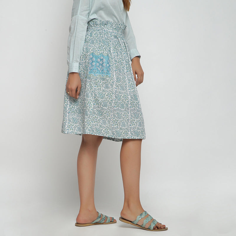 Right View of a Model wearing Sage Green Hand block Print Gathered Skirt