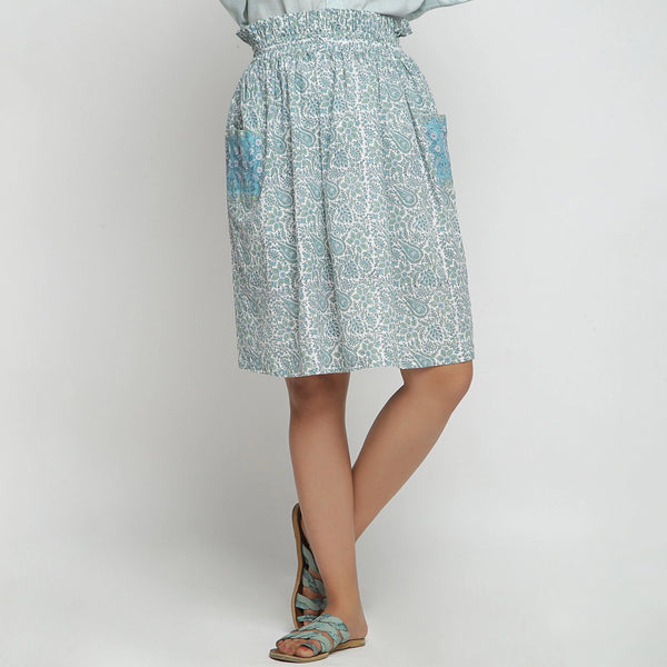 Front View of a Model wearing Sage Green Hand Block Print Gathered Skirt