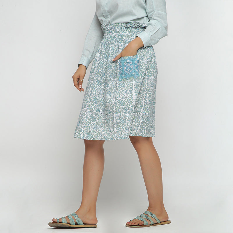 Left View of a Model wearing Sage Green Hand block Print Gathered Skirt