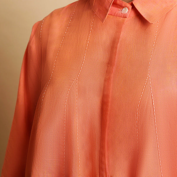 Front Detail of a Model wearing Salmon Pink Cotton Solid Godet Top