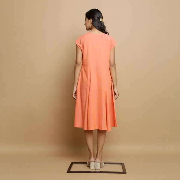 Back View of a Model wearing Salmon Pink Mangalgiri Cotton Button-Down Dress