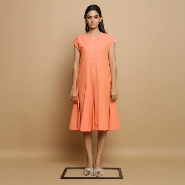Front View of a Model wearing Salmon Pink Mangalgiri Cotton Button-Down Dress