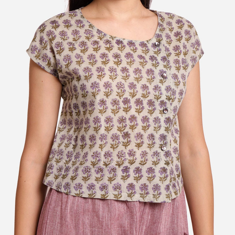 Front Detail of a Model wearing Sanganeri Print Short Asymmetric Blouse