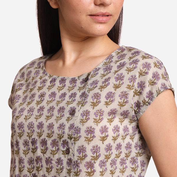 Left Detail of a Model wearing Sanganeri Print Short Asymmetric Blouse