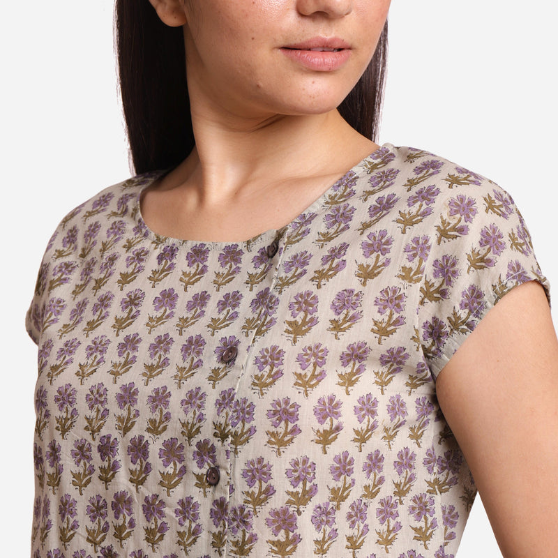 Left Detail of a Model wearing Sanganeri Block Print Short Asymmetric Blouse