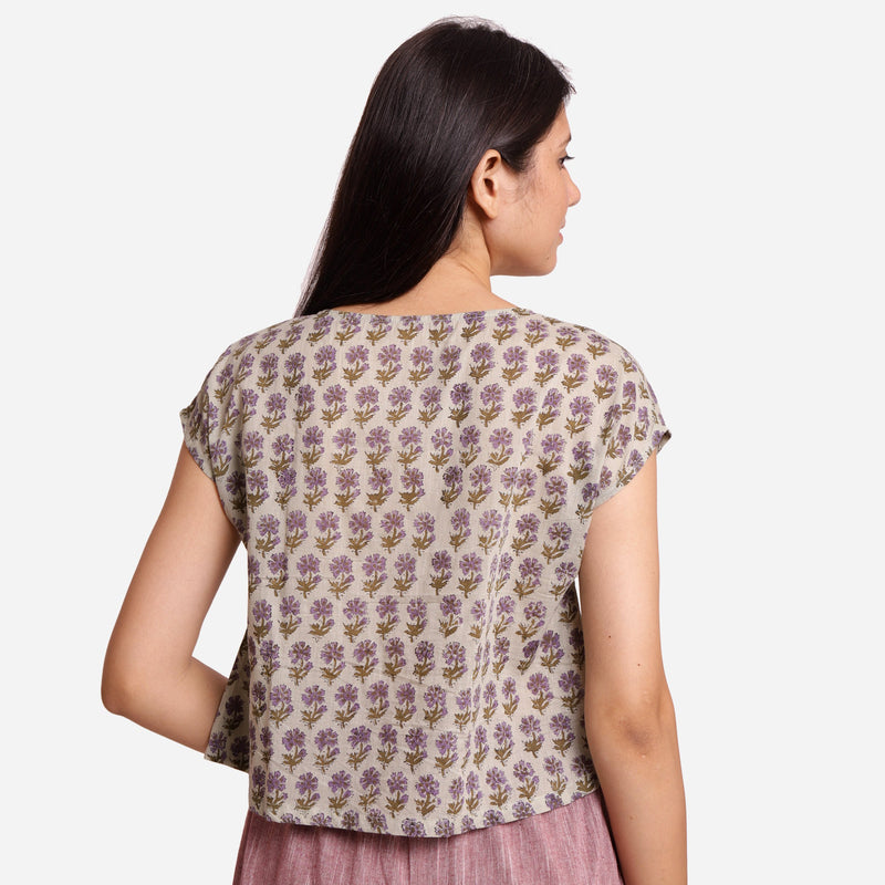 Back View of a Model wearing Sanganeri Print Short Asymmetric Blouse
