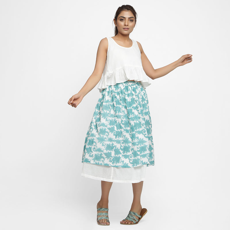 Front View of a Model wearing Sanganeri Hand Block Print Layered Skirt