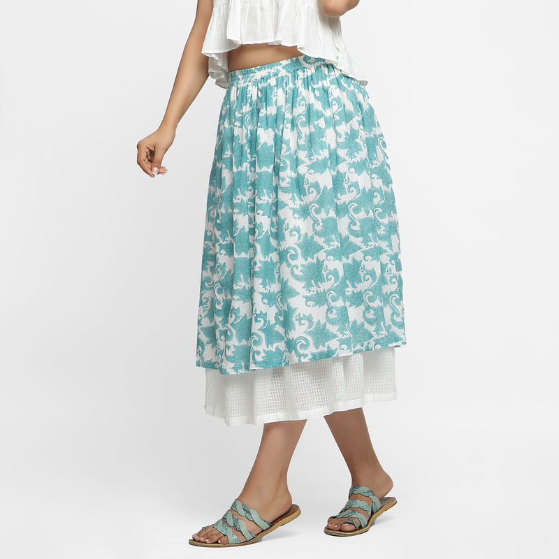 Left View of a Model wearing Sanganeri Hand Block Print Layered Skirt
