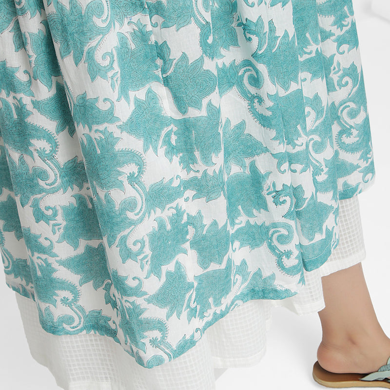 Close View of a Model wearing Sanganeri Hand Block Print Layered Skirt