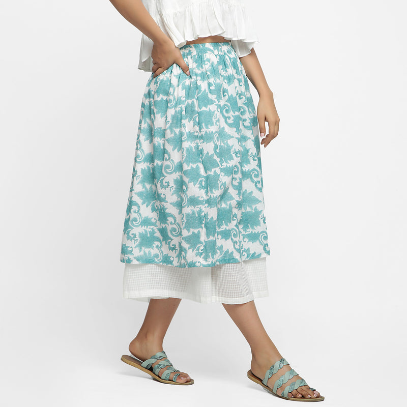 Right View of a Model wearing Sanganeri Hand Block Print Layered Skirt
