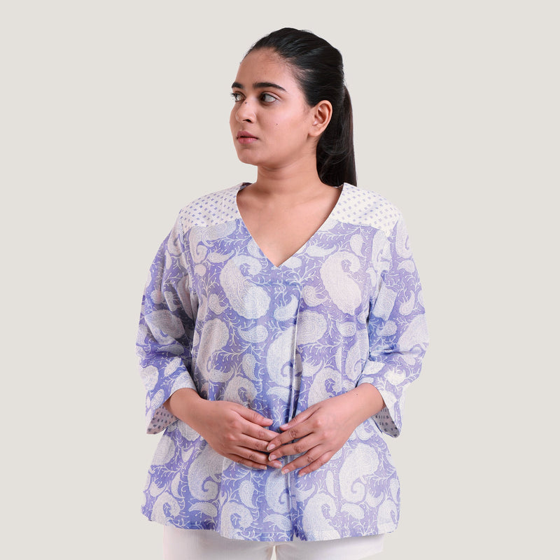 Front View of a Model wearing Sanganeri Hand Block Print Wrap Top