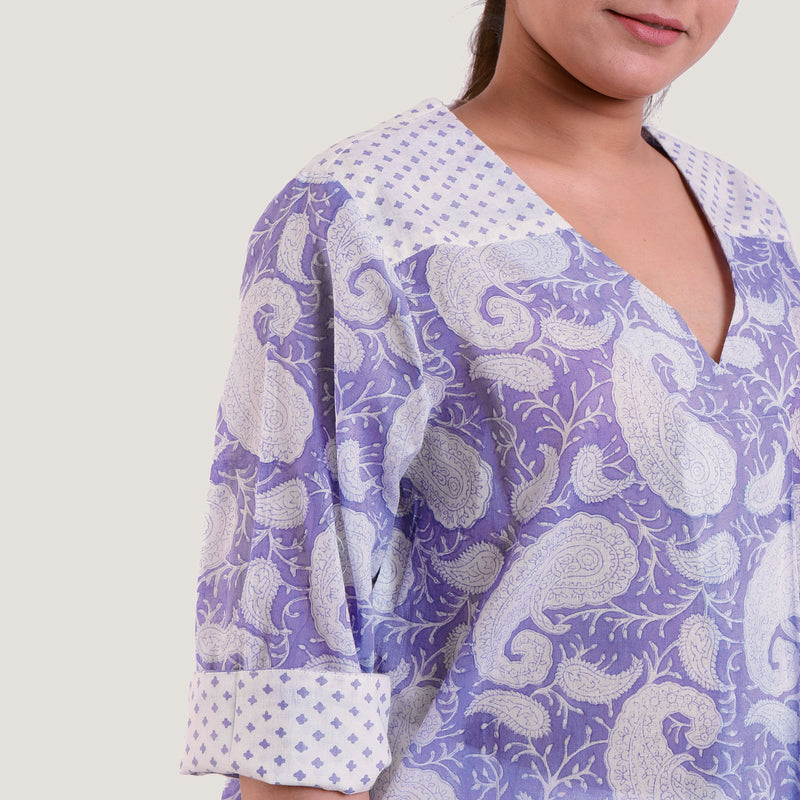 Right Detail of a Model wearing Sanganeri Hand Block Print Wrap Top