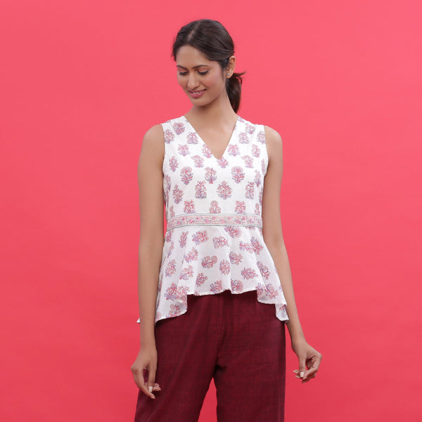 Front View of a Model wearing White Sanganeri Print High Low Top