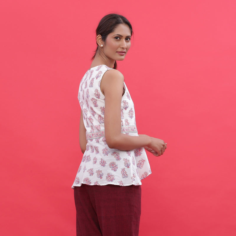 Back View of a Model wearing White Sanganeri Print High Low Top