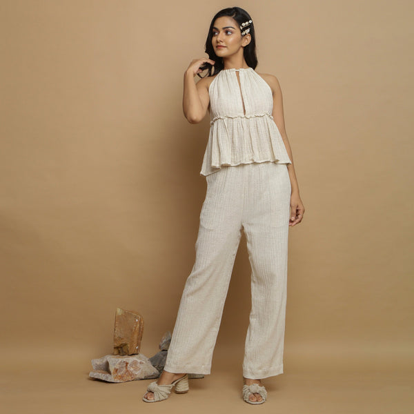 Front View of a Model wearing Sassy Ecru Crinkled Top and Mid-Rise Pant Set