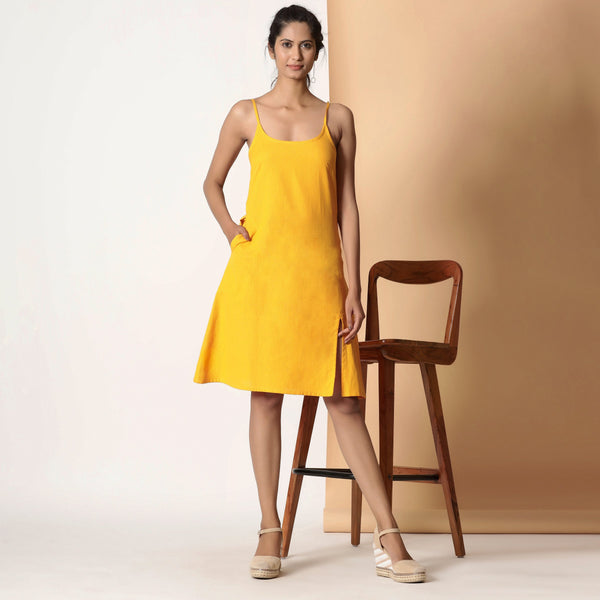 Front View of a Model wearing Sassy Yellow Cotton Flax Strappy Slit Dress