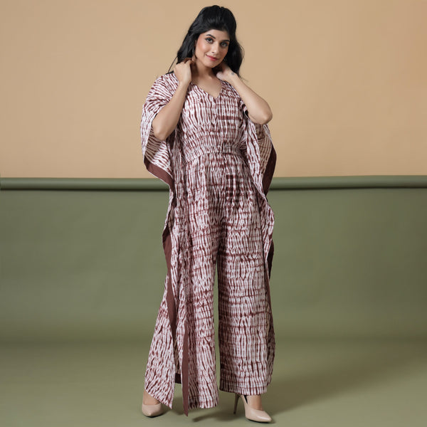 Front View of a Model wearing Shibori V-Neck Kaftan Jumpsuit