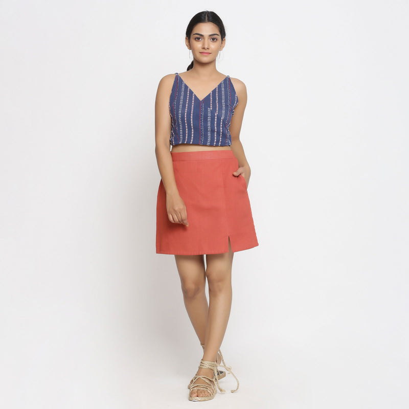 Front View of a Model wearing Brick Red Cotton Short A-Line Skirt