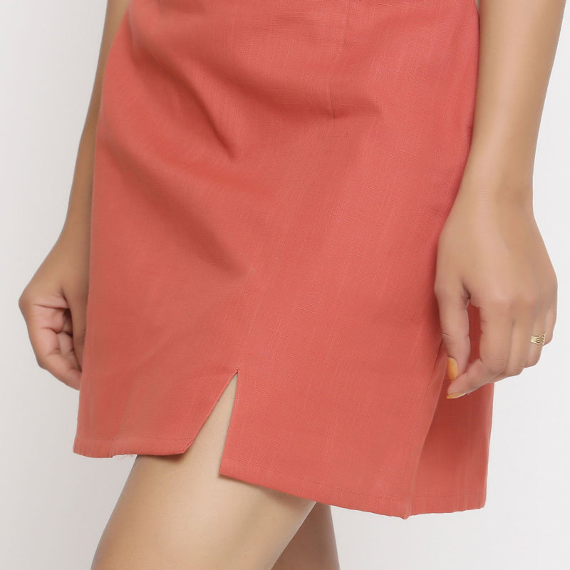 Left Detail of a Model wearing Brick Red Cotton Short A-Line Skirt
