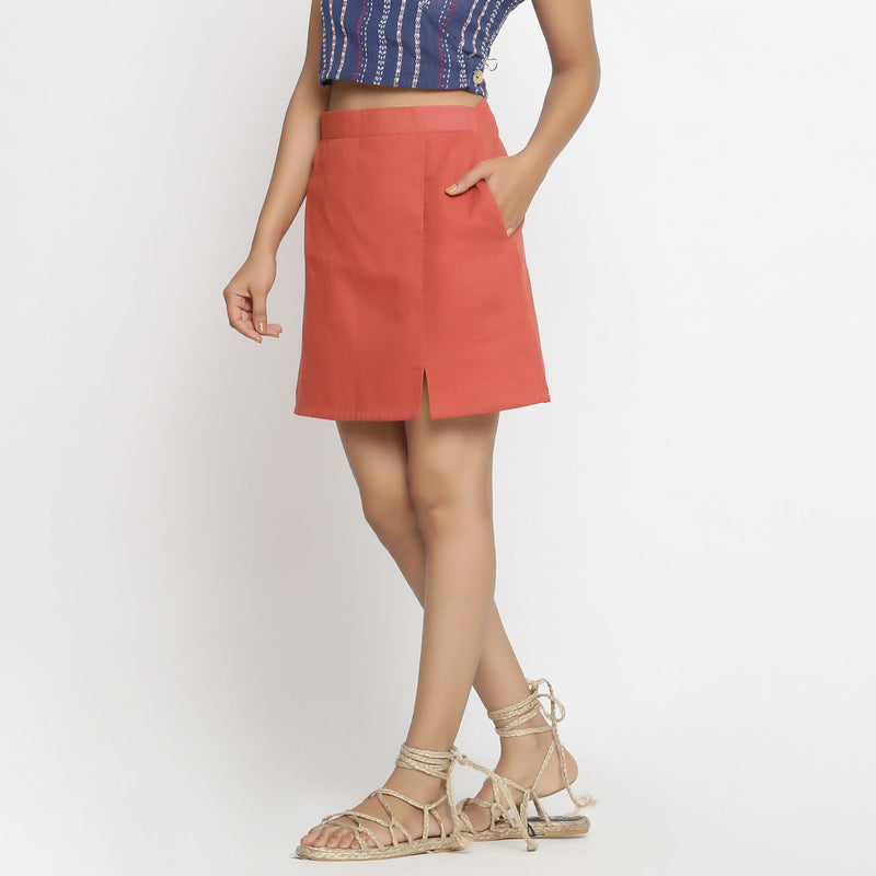 Left View of a Model wearing Brick Red Cotton Short A-Line Skirt