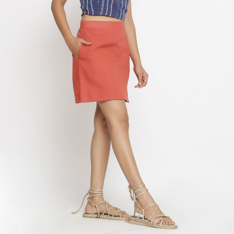 Right View of a Model wearing Brick Red Cotton Short A-Line Skirt