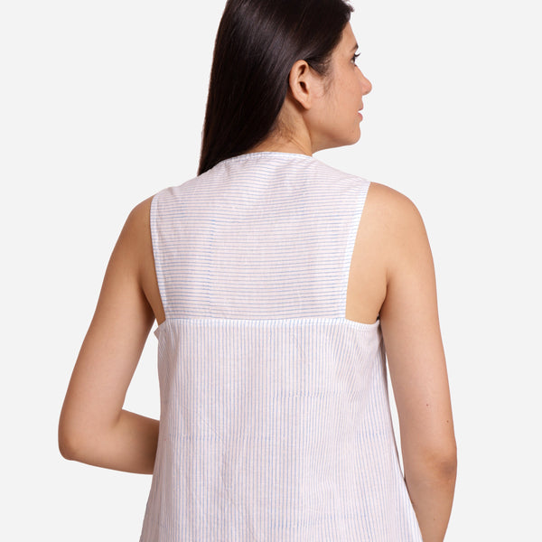 Back View of a Model wearing White Block Printed Tunic Dress