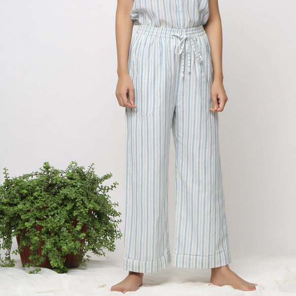 Front View of a Model wearing Sky Blue Cotton Muslin Straight Pant