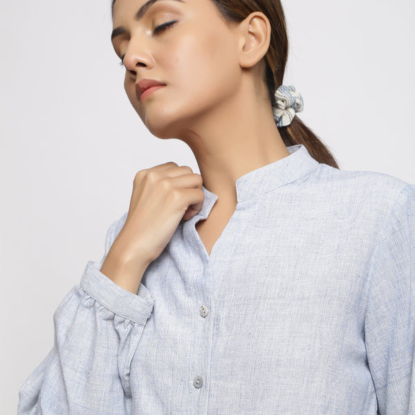 Front Detail of a Model wearing Sky Blue Handspun Button-down Shirt