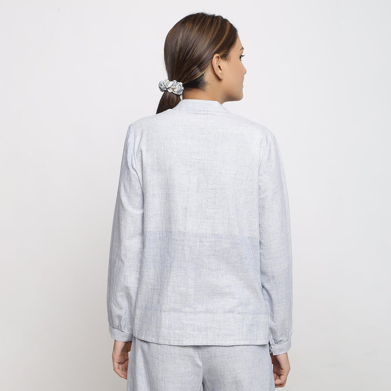Back View of a Model wearing Sky Blue Handspun Button-down Shirt