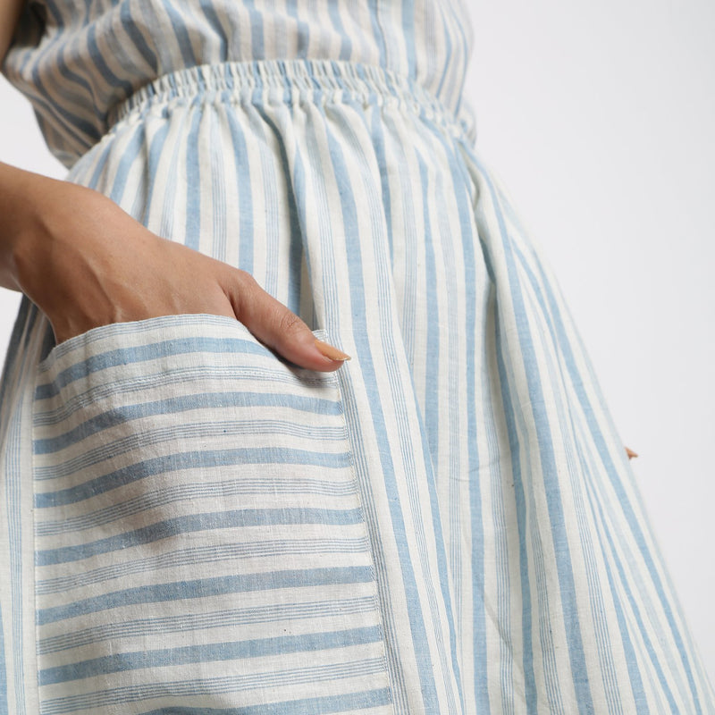 Right Detail of a Model wearing Sky Blue Handspun Gathered Skirt
