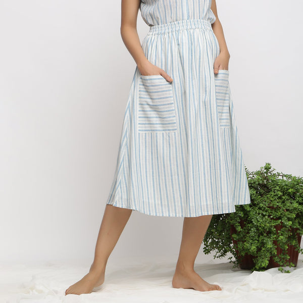 Front View of a Model wearing Sky Blue Handspun Cotton Gathered Skirt