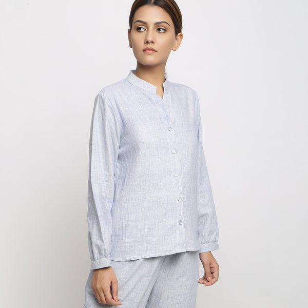 Sky Blue Handspun Shirt and Paperbag Pant Set