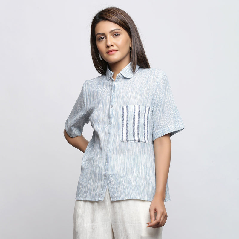 Front View of a Model wearing Sky Blue Yarn Dyed Button-Down Shirt