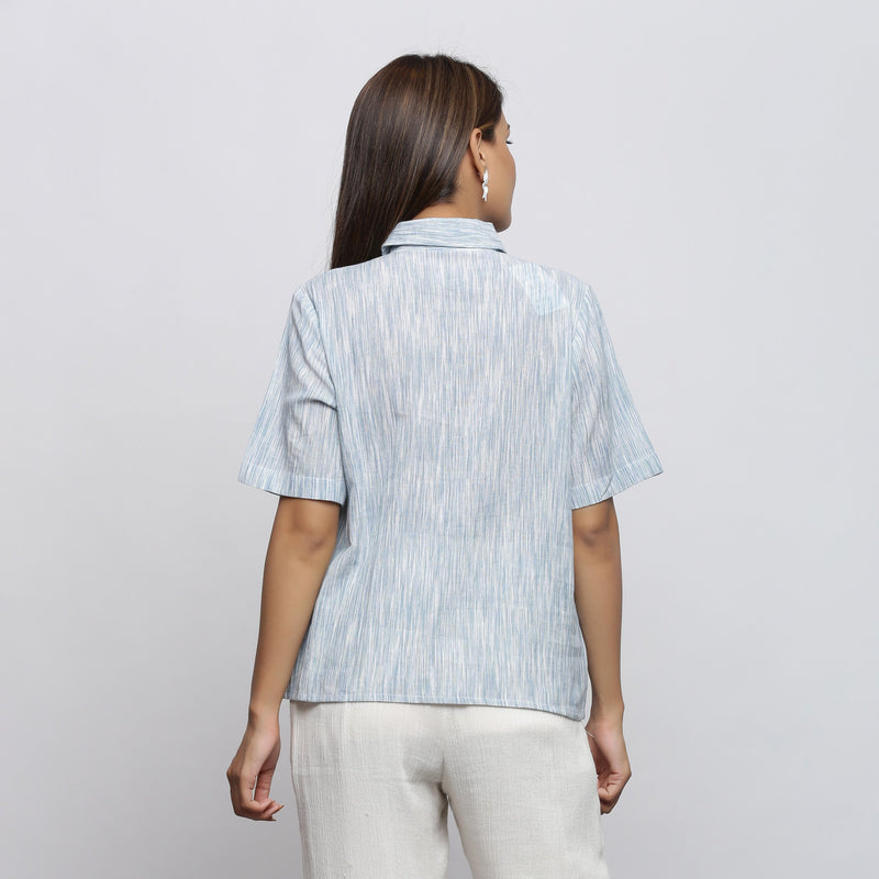 Back View of a Model wearing Sky Blue Yarn Dyed Button-Down Shirt