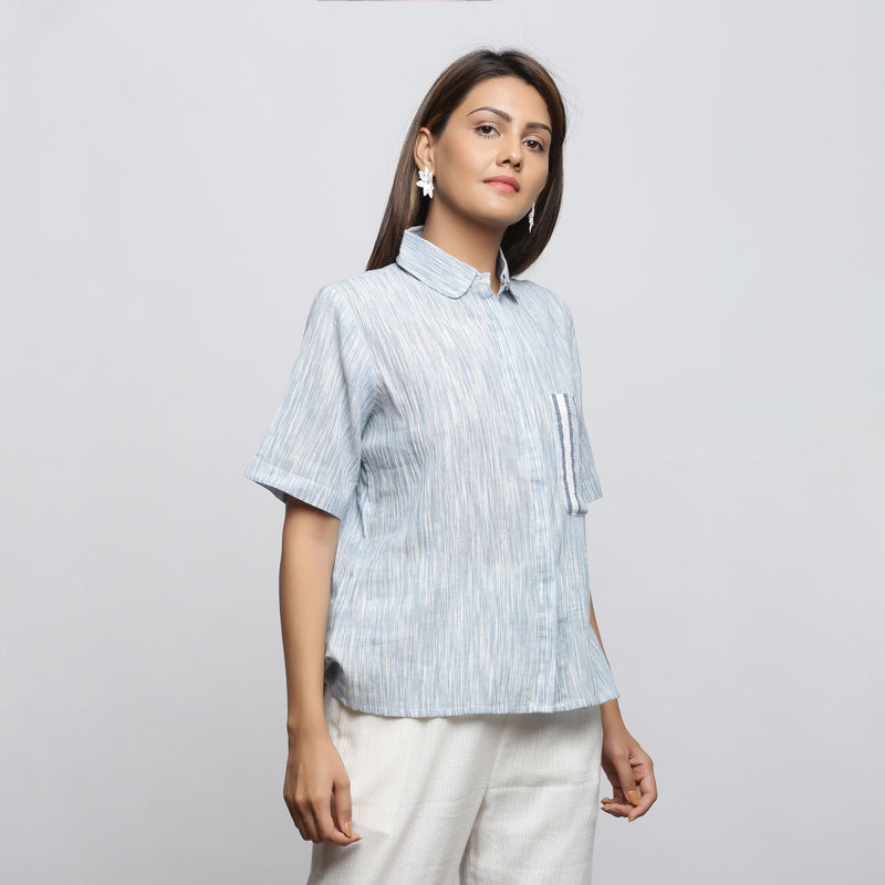 Right View of a Model wearing Sky Blue Yarn Dyed Button-Down Shirt