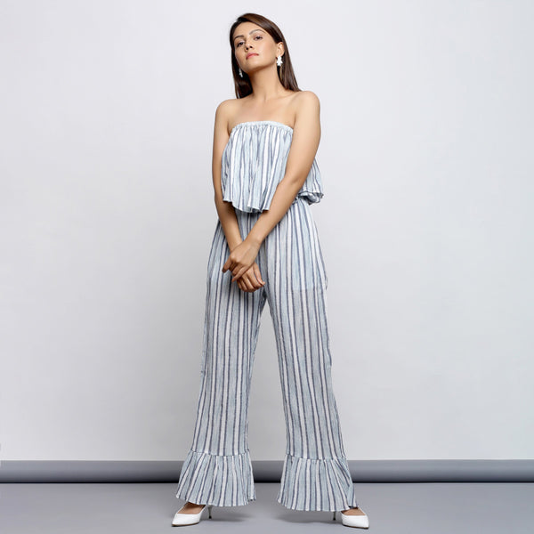 Front View of a Model wearing Sky Blue Yarn Dyed Cotton Cape Jumpsuit