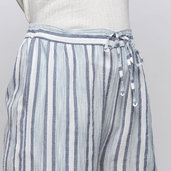 Front Detail of a Model Wearing Sky Blue Yarn Dyed Cotton Culottes