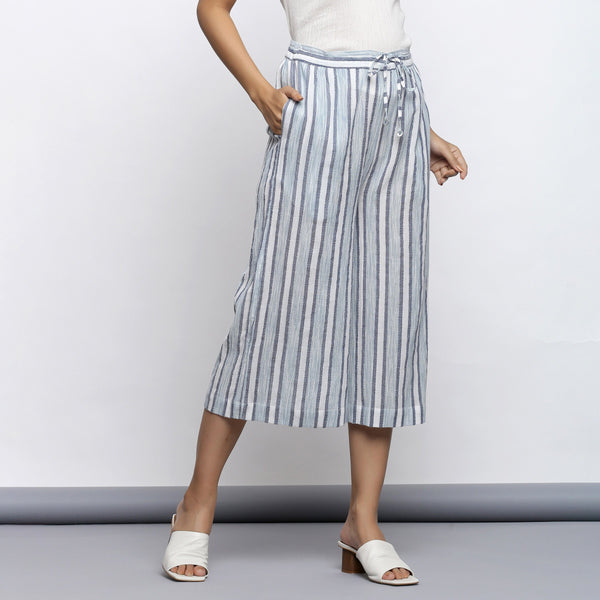 Front View of a Model Wearing Sky Blue Yarn Dyed Cotton Culottes