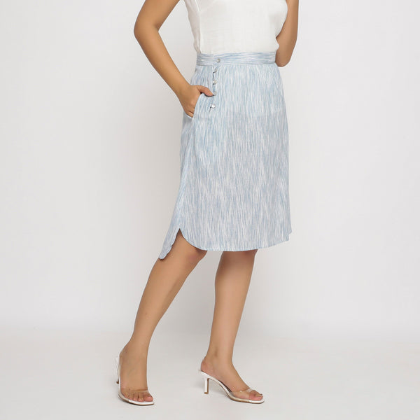 Right View of a Model wearing Sky Blue Yarn Dyed Cotton High Low Skirt