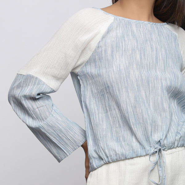 Front Detail of a Model wearing Sky Blue Yarn Dyed Straight-Fit Top