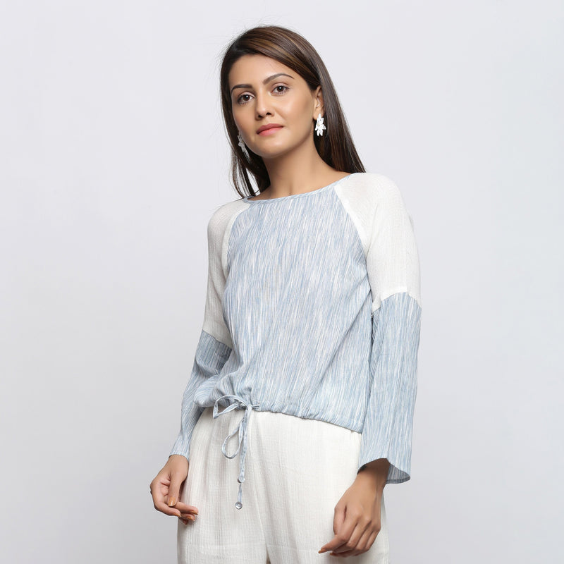 Front View of a Model wearing Sky Blue Yarn Dyed Cotton Straight Top
