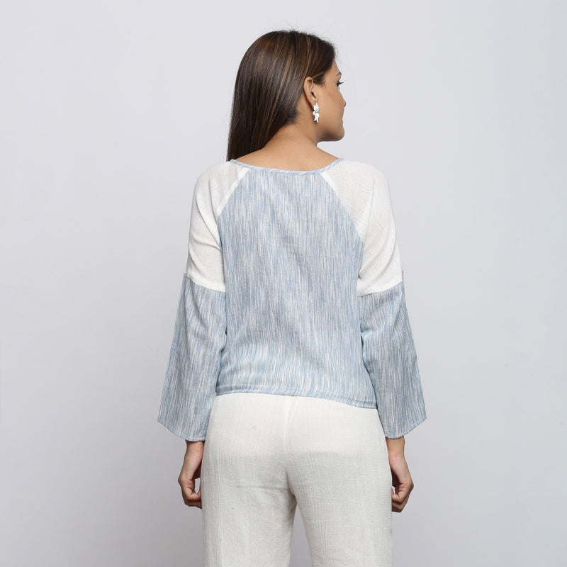 Back View of a Model wearing Sky Blue Yarn Dyed Cotton Straight Top