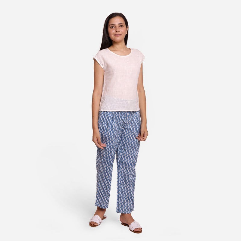 Front View of a Model wearing Blue Block Printed Straight Pant
