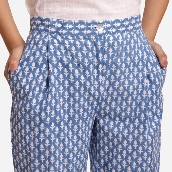 Front Detail of a Model wearing Blue Block Printed Straight Pant