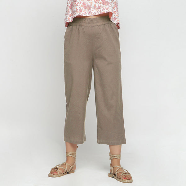Front View of a Model wearing Solid Beige Cotton Flax Culottes