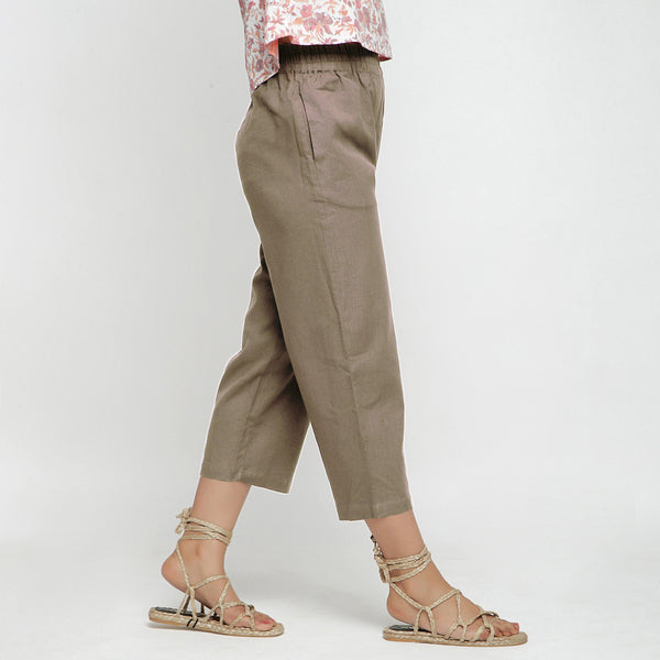 Right View of a Model wearing Solid Beige Cotton Flax Culottes