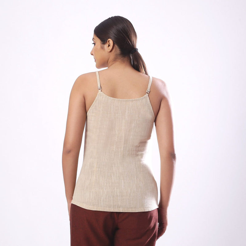 Back View of a Model wearing Solid Beige Cotton Flax Spaghetti Top